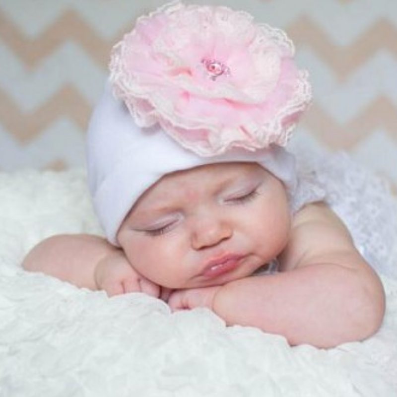White Hat with Pale Pink Lace Rose