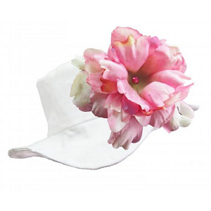 White Sun Hat with Pale Pink Peony