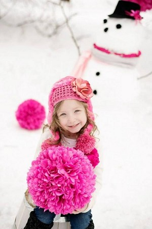 Candy Pink Winter Wimple Hat with Candy Pink Rose