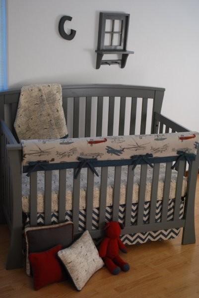 Vintage plane crib bedding 2pc set - Airplane crib bedding sets ...