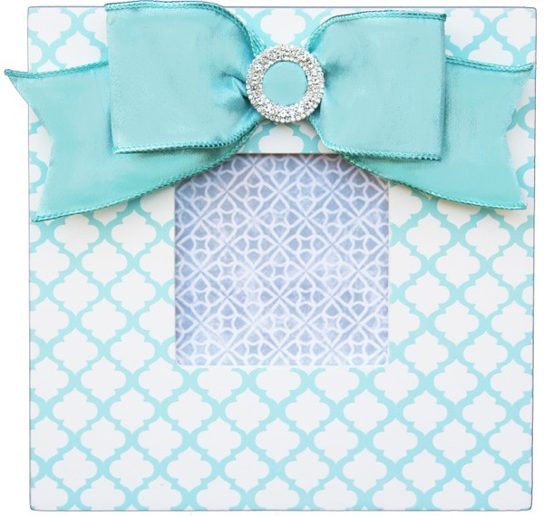 aqua trellis embellished frame