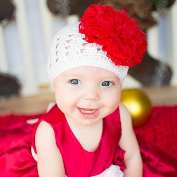 White Crochet Hat With Red Lace Rose Buy Jamie Rae Flower Hats For