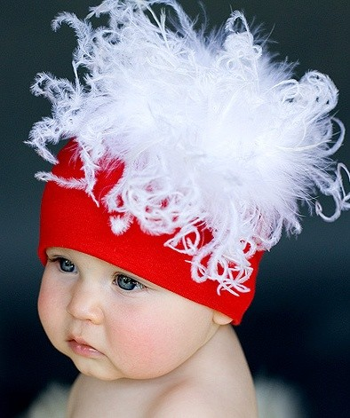 Red Hat with White Curly Marabou