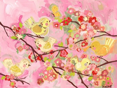 Cherry Blossom Birdies Pink Canvas Reproduction