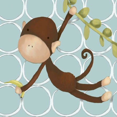 Hanging Monkey in Blue Canvas Reproduction