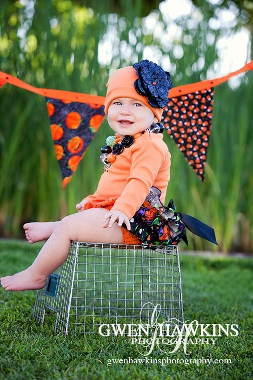 Orange Hat With Black Sequins Rose