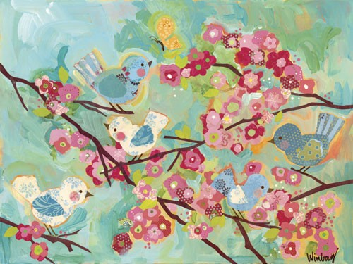 Cherry Blossom Birdies Canvas Reproduction
