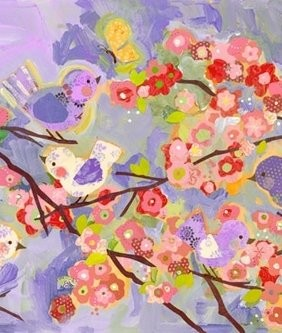 Cherry Blossom Birdies- Purple Canvas Reproduction