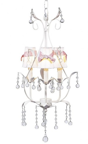 Pear Chandelier White/Pink Shades