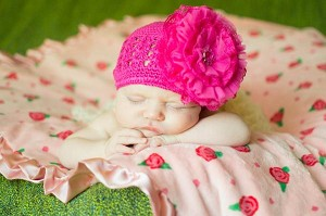 Raspberry Crochet Hat with Raspberry Lace Rose