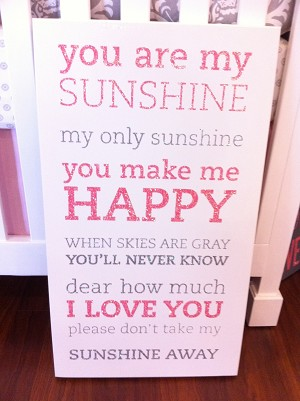 Twelve Timbers You Are My Sunshine Two Tone Wall Panel - Customizable!