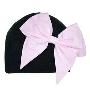 Black Hat with Pale Pink Bow
