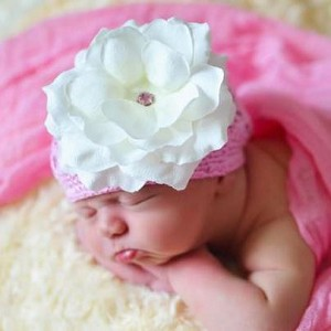 Candy Pink Crochet Hat with White Rose