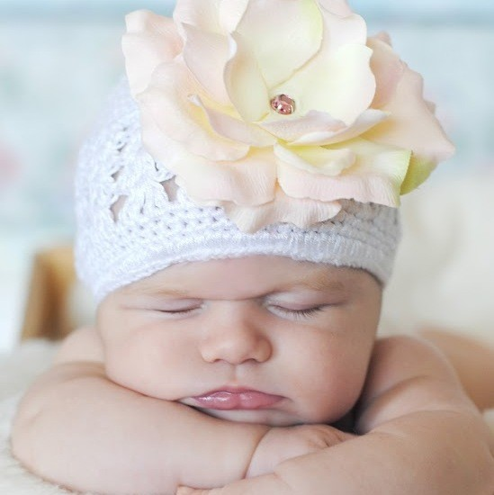 White Crochet Hat with Pale Pink Rose