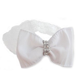 Taffeta Bow with Crystal Center - White