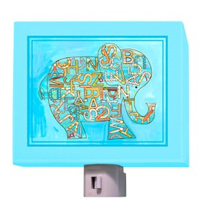 Blue Alphabet Elephant Night Light