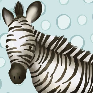 Timmy the Zebra in Powder Blue Canvas Reproduction