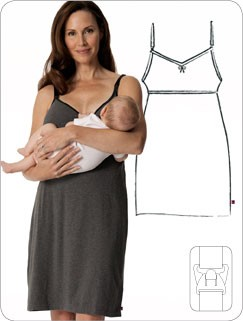 Glamourmom Nursing Bra Nightgown - Grey