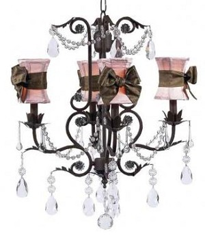 Mocha 4-Arm Valentino Chandelier with Shades