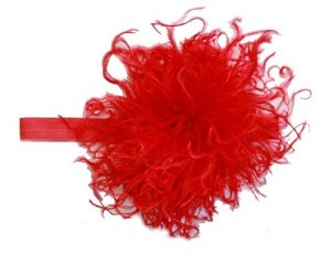 Red Flowerette Bursts with Red Curly Marabou