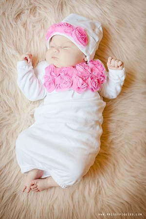 White Rosette Gown & Matching Hat
